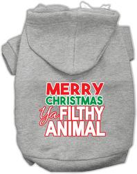 Ya Filthy Animal Screen Print Pet Hoodie Grey Med