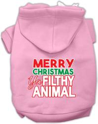 Ya Filthy Animal Screen Print Pet Hoodie Light Pink Med