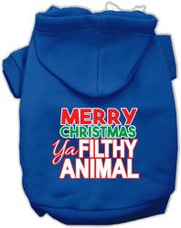 Ya Filthy Animal Screen Print Pet Hoodie Blue Sm