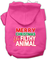 Ya Filthy Animal Screen Print Pet Hoodie Bright Pink Sm