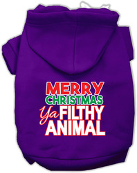 Ya Filthy Animal Screen Print Pet Hoodie Purple XXL