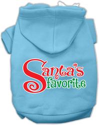 Santas Favorite Screen Print Pet Hoodie Baby Blue Lg