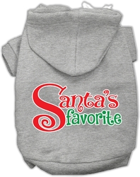 Santas Favorite Screen Print Pet Hoodie Grey Med