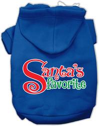 Santas Favorite Screen Print Pet Hoodie Blue Sm