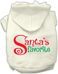 Santas Favorite Screen Print Pet Hoodie Cream Sm