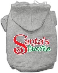 Santas Favorite Screen Print Pet Hoodie Grey XS