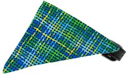 Blue Party Plaid Bandana Pet Collar Black Size 18