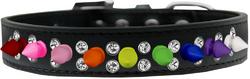 Double Crystal with Rainbow Spikes Dog Collar Black Size 14
