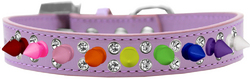Double Crystal with Rainbow Spikes Dog Collar Lavender Size 18