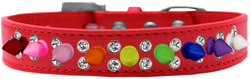 Double Crystal with Rainbow Spikes Dog Collar Red Size 16