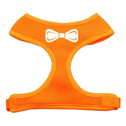 Bow Tie Screen Print Soft Mesh Harness Orange Medium