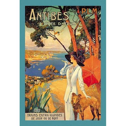 Antibes (PLM), Lady in White with Parasol & Dog (Canvas Art)