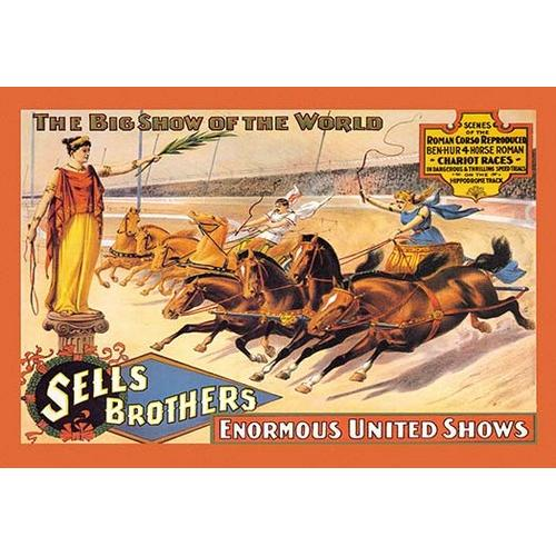 Ben Hur Chariot Races: Sells Brothers' Enormous United Shows (Framed Poster)