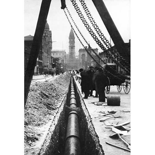 Installing a Water Pipe, North Broad Looking South, Philadelphia, PA (Fine Art Giclee)