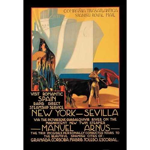 Visit Romantic Spain: Rapid Direct Steamship Service from New York to Sevilla (Framed Poster)