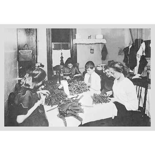 Family Sitting at Table Working with Garters (Framed Poster)