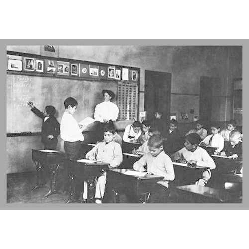 Students and Teacher in Public School Classroom (Canvas Art)