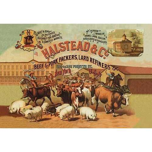 Halstead and Company Beef and Pork Packers (Paper Poster)
