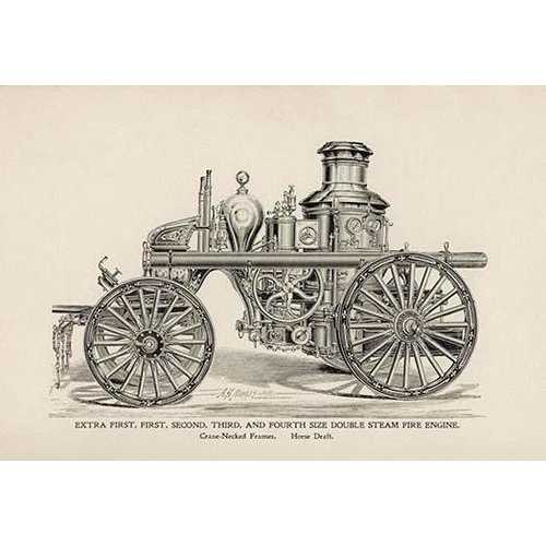 Extra First, First, Second, Third, and Fourth Size Double Steam Fire Engine (Paper Poster)