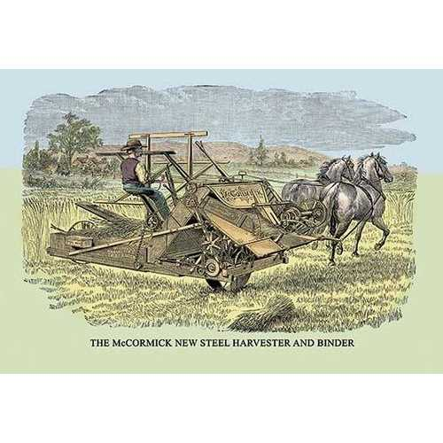 The McCormick New Steel Harvester and Binder (Paper Poster)