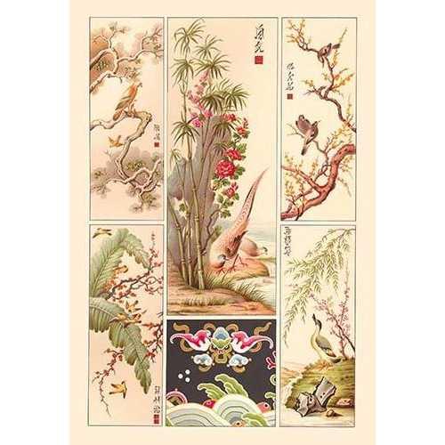 Asian Bird Panels (Paper Poster)