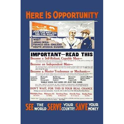 Here is opportunity See the world, serve your country, save your money. (Canvas Art)