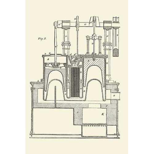 Steam Power Piston Chamber Cutaway (Canvas Art)