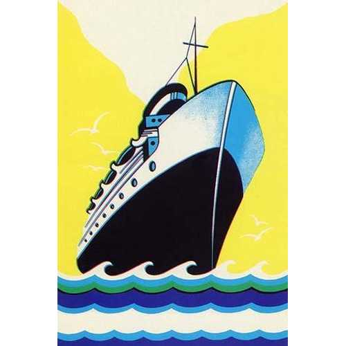 Steamship Cruise liner Boom Label (Paper Poster)