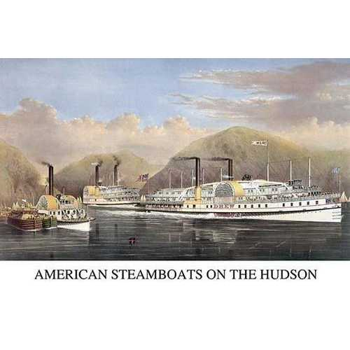 American steamboats on the Hudson: passing the highlands (Canvas Art)
