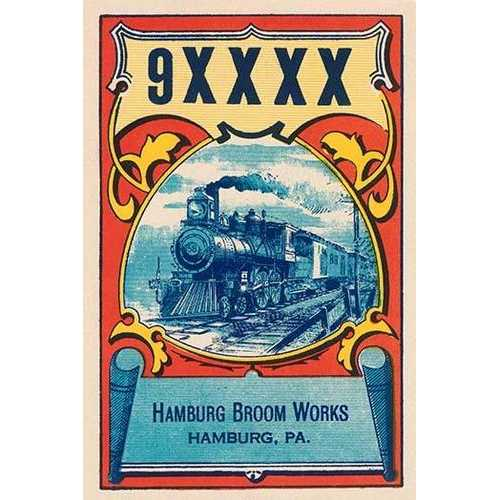 9XXXX Steam Train Broom Label (Canvas Art)