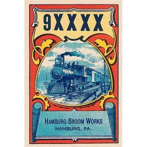 9XXXX Steam Train Broom Label (Paper Poster)