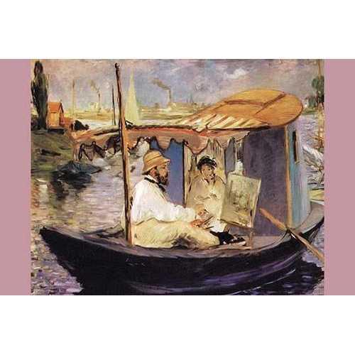 Claude Monet dans son bateau atelier (Canvas Art)