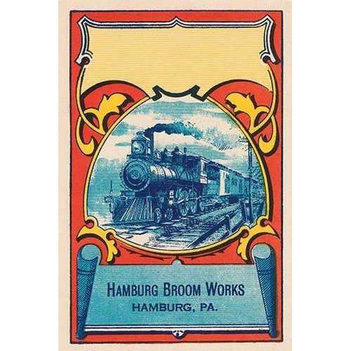 Steam Engine Broom Label (Paper Poster)