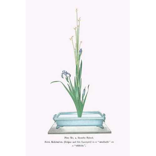 Futoi, Kakitsubata (Scirpus & Iris Laevigata) in a Sunabachi (Paper Poster)