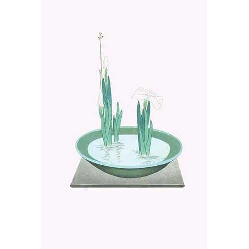Futoi & Hanashobu (Scirpus & Iris) in a Tenryuji-celadon basin (Paper Poster)