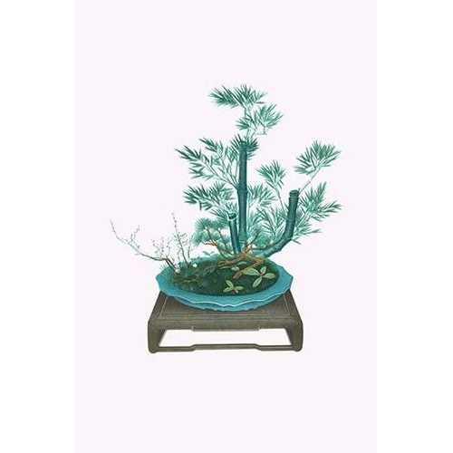 Shochikubai, Yabukoji, and Hikagenokazura (Plum, Pine & Bamboo with Ardisia and Club Moss) in an antique mirror shaped basin (Paper Poster)
