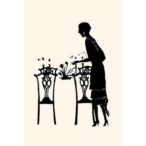 Homemaker sets table with a bouquet of flowers (Framed Poster)