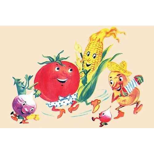 Dancing Happy Vegetables (Paper Poster)