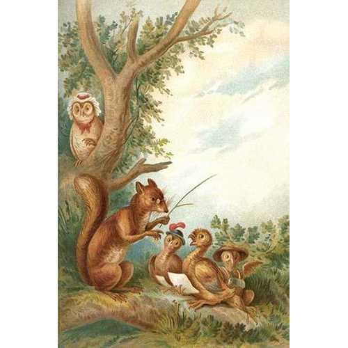 Squirrel Teaches Ducks (Framed Poster)