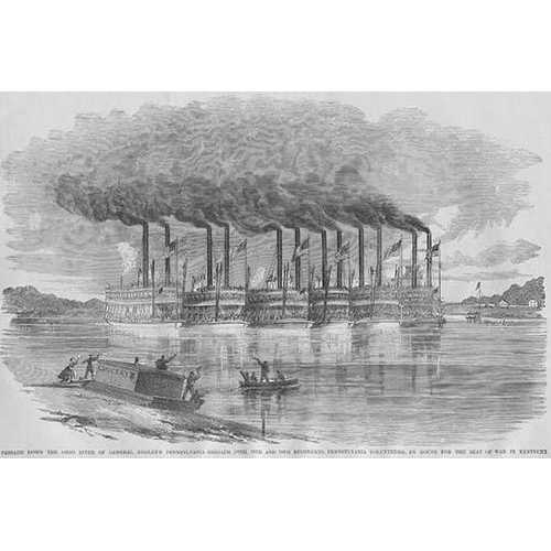 Six Steamboats Carry Federal Troops from Pennsylvania down the Ohio River to the Front in Kentucky (Paper Poster)