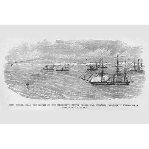"""US War Steamer """"Mississippi"""" Fires on Confederate Vessel (Framed Poster)"""