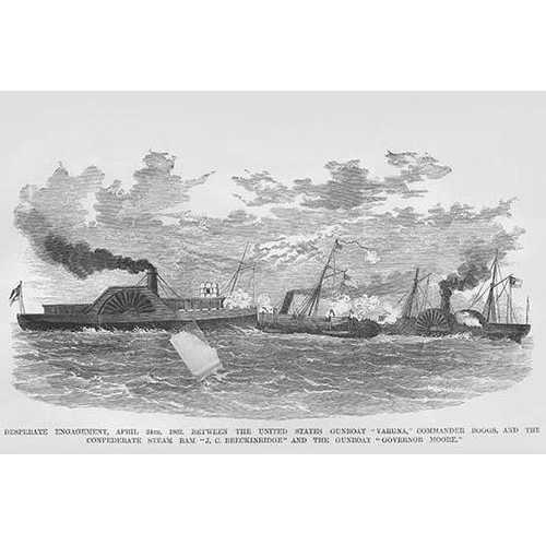 Naval engagement between the Confederate Steam Ram & US Gunboat Varuna & USS Governor Moore (Canvas Art)