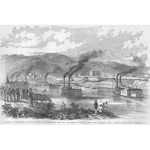Steamboats transport troops & Munitions on the Great Kanawha River (Canvas Art)