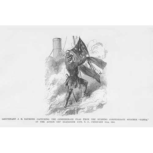 """Capturing the Confederate Flag from the burning Confederate Steamer """"Fanny"""" (Paper Poster)"""