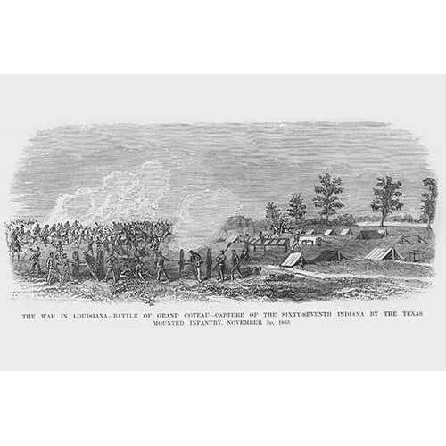 Battle of Grand Coteau, Louisiana with Texas Mounted Infantry - Cavalry; Bayou Bourbeux (Canvas Art)