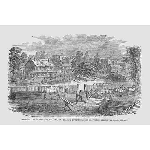 Federal Soldiers tearing down buildings destroyed by Bombardment in Atlanta (Fine Art Giclee)
