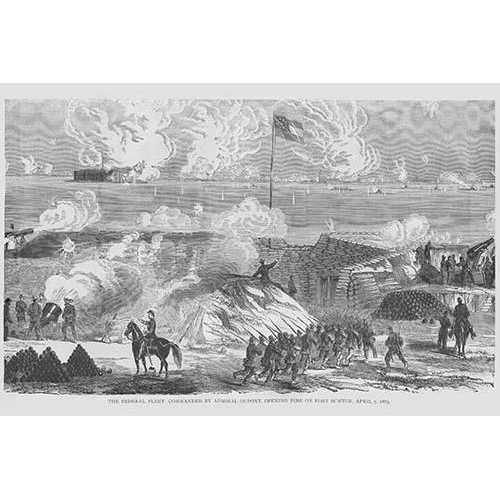 Admiral DuPont's Fleet opens fire on Fort Sumter (Paper Poster)