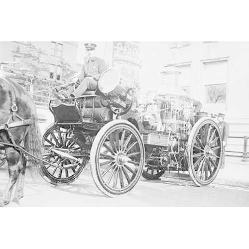 Searchlight on Horse Drawn Steam Boiler Fire Truck (Paper Poster)