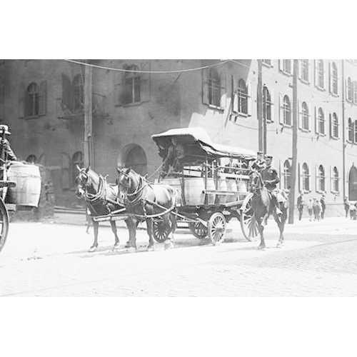 Police On Horseback Guard a Team Driven Wagon during car Strike (Framed Poster)
