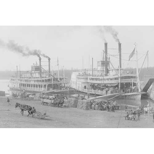 Two Steamboats Along the Levee at the Mississippi River (Paper Poster)